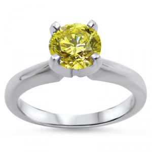 White Gold 1/2ct Round Yellow Canary Diamond Solitaire Engagement Ring - Handcrafted By Name My Rings™