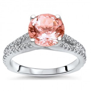 White Gold 2 1/10ct TGW Round-cut Morganite Diamond Engagement Ring - Handcrafted By Name My Rings™