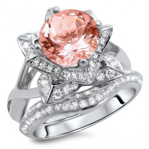 White Gold 2 2/5ct TGW Round-cut Morganite Diamond Lotus Flower Engagement Ring Bridal Set - Handcrafted By Name My Rings™