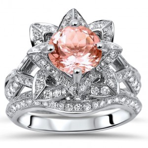 White Gold 2 3/4ct TGW Round-cut Morganite Diamond Lotus Flower Engagement Ring Bridal Set - Handcrafted By Name My Rings™