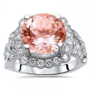 White Gold 2 4/5ct TGW Round-cut Morganite Diamond Engagement Ring - Handcrafted By Name My Rings™