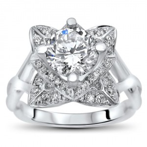 White Gold 2ct TGW Round Moissanite Lotus Flower and 2/5ct TDW Diamond Engagement Ring - Handcrafted By Name My Rings™