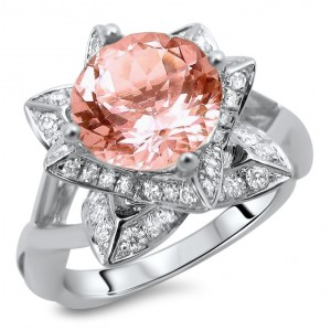 White Gold 2ct TGW Round-cut Morganite Diamond Lotus Flower Engagement Ring - Handcrafted By Name My Rings™