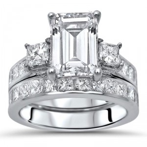 White Gold Moissanite and 1 3/5ct TDW White Diamond Bridal Set - Handcrafted By Name My Rings™