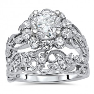 White Gold Moissanite and 3/4ct TDW Flower Diamond Engagement Ring Set - Handcrafted By Name My Rings™