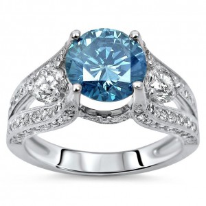 Gold 2 3/5ct TDW Round Blue Diamond Engagement Ring - Handcrafted By Name My Rings™