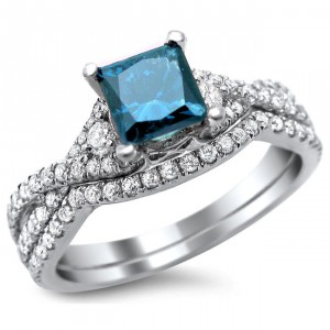 White Gold 1 1/2ct TDW Blue/ White Princess-cut Diamond Bridal Set - Handcrafted By Name My Rings™