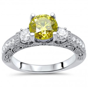 White Gold 1 1/2ct TDW Canary Yellow 3-stone Diamond Engagement Ring - Handcrafted By Name My Rings™