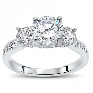 White Gold 1ct TGW Round Moissanite 3 Stone and 4/5ct TDW Diamond Engagement Ring - Handcrafted By Name My Rings™