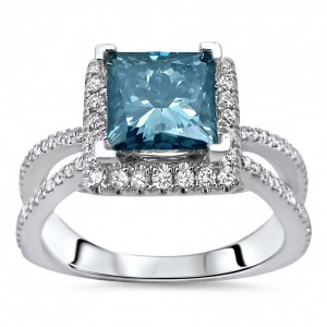 White Gold 2 1/10ct TDW Blue Princess Cut Diamond Engagement Ring - Handcrafted By Name My Rings™