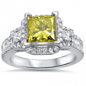 White Gold 2ct TDW Canary Yellow Princess Diamond Engagement Ring - Handcrafted By Name My Rings™