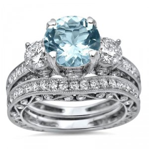 White Gold 3 ct TGW Round-cut Aquamarine Diamond Engagement Ring Bridal Set 3 Stone - Handcrafted By Name My Rings™