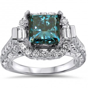 White Gold 3ct Blue and White Princess-cut Diamond Engagement Ring - Handcrafted By Name My Rings™