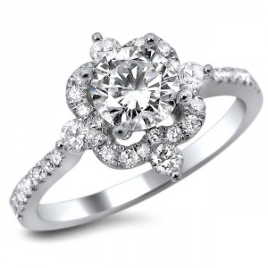 White Gold Vintage 1ct TDW Diamond Round Cut Engagement Ring - Handcrafted By Name My Rings™