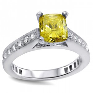 White Gold Yellow and White Diamond Engagement Ring - Handcrafted By Name My Rings™