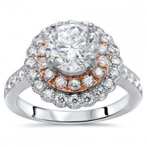 White Rose Gold 1 3/5 ct TDW Enhanced Round Diamond Engagement Ring - Handcrafted By Name My Rings™