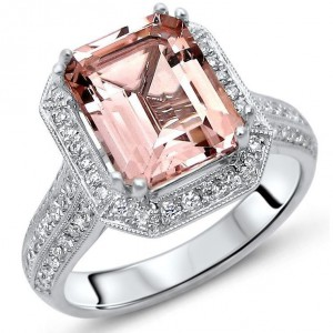 2 2/5 TGW Emerald Cut Morganite Diamond Engagement Ring White Gold - Handcrafted By Name My Rings™