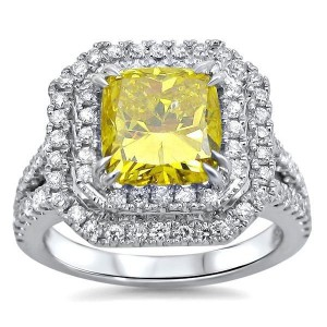 2 3/4 Canary Yellow Cushion Cut Diamond Engagement Ring White Gold - Handcrafted By Name My Rings™