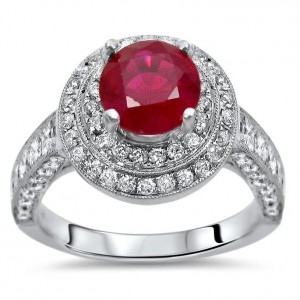 2ct TGW Ruby Diamond Double Halo Engagement Ring White Gold - Handcrafted By Name My Rings™