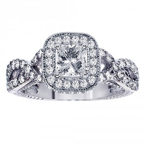 Platinum 2 1/10ct TDW Princess-cut Diamond Engagement Ring - Handcrafted By Name My Rings™
