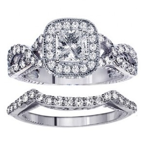 Platinum 2 3/4ct TDW Clarity Enhanced Princess Diamond Bridal Ring Set - Handcrafted By Name My Rings™