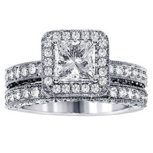 Platinum 3ct TDW Halo Diamond Bridal Ring Set - Handcrafted By Name My Rings™