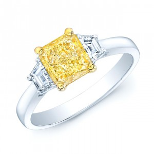 Platinum and Gold 1 1/2ct GIA-certified Fancy Light Yellow Diamond Engagement Ring - Handcrafted By Name My Rings™