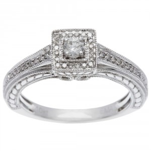 White Gold 1/4ct TDW Princess Diamond Ring - Handcrafted By Name My Rings™