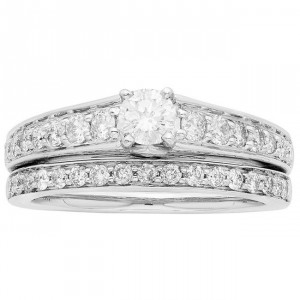 White Gold 1ct TDW IGL Certified Round Cut 2-piece Bridal Set - Handcrafted By Name My Rings™
