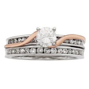 White and Rose Gold 1ct TDW Round Cut Swirl Bridal Set - Handcrafted By Name My Rings™