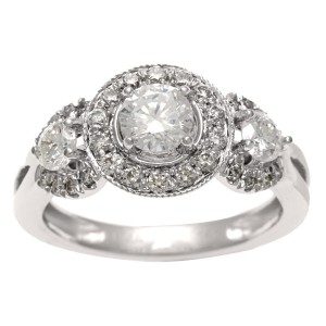 White Gold 1ct TDW IGL Certified Diamond 3-stone Vintage Ring - Handcrafted By Name My Rings™