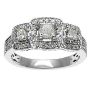 White Gold 1ct TDW IGL Certified Three Stone Princess Cut Diamond Engagement Ring - Handcrafted By Name My Rings™