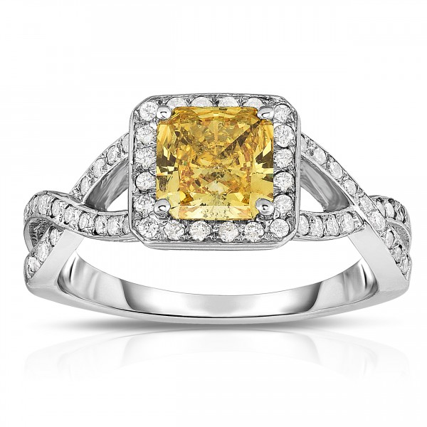 White Gold 1 1/3ct TDW Radiant-cut Lab-grown Diamond Halo Ring - Handcrafted By Name My Rings™