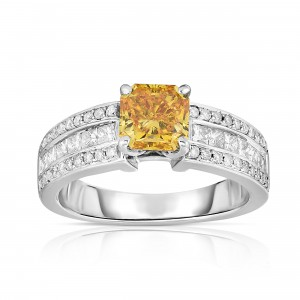 White Gold 2 1/4ct TDW Radiant-cut Lab-grown Diamond Ring - Handcrafted By Name My Rings™
