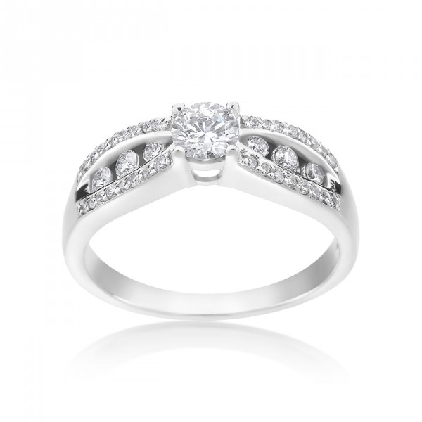 White Gold 1/2ct TDW Diamond Engagement Ring - Handcrafted By Name My Rings™