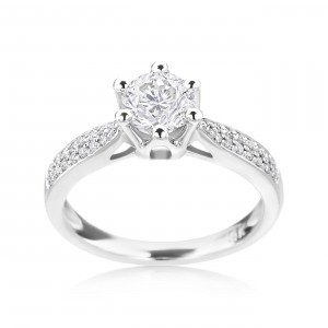 White Gold 7/8ct TDW Diamond Engagement Ring - Handcrafted By Name My Rings™