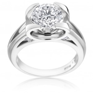 Platinum 1 7/8ct TDW Unique Diamond Engagement Ring - Handcrafted By Name My Rings™