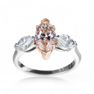 Platinum, Rose Gold 2 3/5ct GIA Certified Yellow-Brown and White Diamond 3-stone Engagement Ring - Handcrafted By Name My Rings™