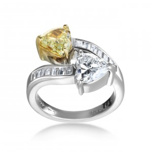 Platinum 3 1/5 TDW White and Yellow Diamond Double Heart Ring - Handcrafted By Name My Rings™