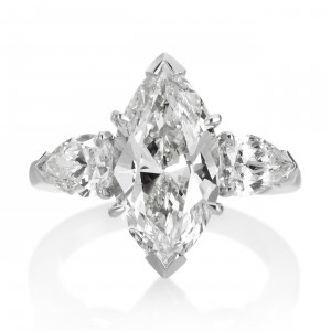 Platinum 5 1/3ct TDW Diamond 3-stone Engagement Ring - Handcrafted By Name My Rings™