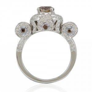 White Gold and 2 1/10ct TDW Brown/ White Diamond Engagement Ring - Handcrafted By Name My Rings™