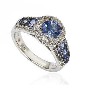 Sterling Silver 3.61ct TGW Sapphire and Diamond Bridal Engagement Ring - Handcrafted By Name My Rings™