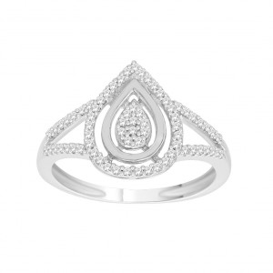 White Gold 1/4ct TDW Diamond Stylish Design Engagement Ring - Handcrafted By Name My Rings™
