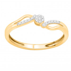 Gold 1/10ct TDW Natural Diamond Bypass Engagement Ring - Handcrafted By Name My Rings™