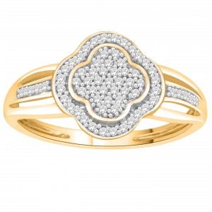 Gold 1/10ct TDW Round-cut Diamond Clover Cluster Engagement Ring - Handcrafted By Name My Rings™