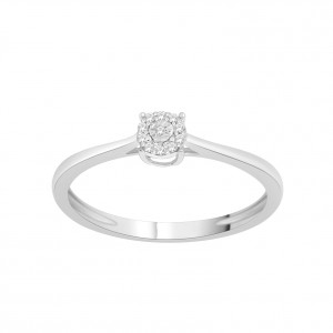 Sterling Silver 1/10ct TDW Diamond Cluster Bypass Promise Ring - Handcrafted By Name My Rings™