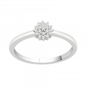 Sterling Silver 1/10ct TDW Diamond Flower Cluster Promise Ring - Handcrafted By Name My Rings™