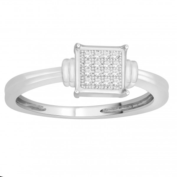 Sterling Silver Natural Diamond Accent Engagement Ring - Handcrafted By Name My Rings™