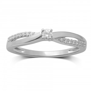 White Gold 1/6ct TDW Diamond Round Center Engagement Ring - Handcrafted By Name My Rings™