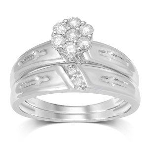 1/3ct TW White Gold 7 Stone Round Flower Top Bridal Set - Handcrafted By Name My Rings™